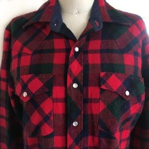 Vintage Western Plaid Flannel Snaps Red Blue Green
